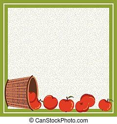 alma, ősz, keret, kosár, vesszőfonás