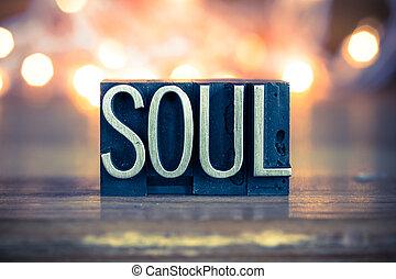 alma, conceito, metal, letterpress, tipo