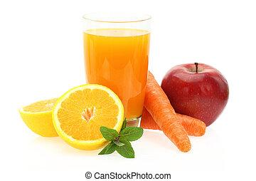 alma, gyümölcslé, sárgarépa, narancs, friss