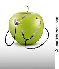 alma, Sztetoszkóp, orvosi, zöld, háttér, vektor