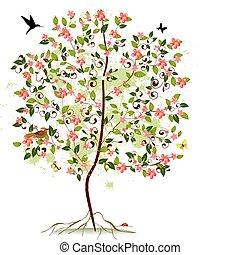 alma virágzik, fa