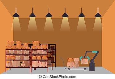 almacén, almacenamiento, diseño