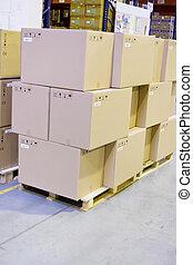 almacén, cajas, cartón, almacenamiento