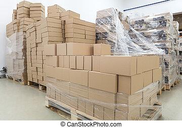 almacén, cajas