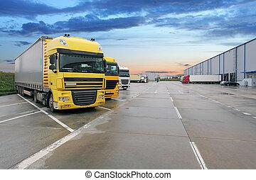 almacén, carga, camión, edificio