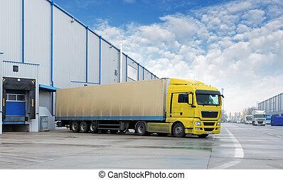 almacén, carga,  -, transporte, camión
