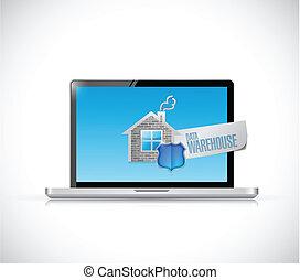 almacén, computador portatil, datos, Ilustración, señal