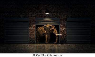 almacén, creativ, door., elefante