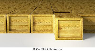almacén, de madera, multitud, cajones