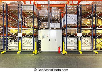 almacén, estantería, automatizado