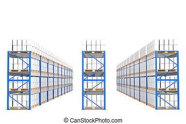 almacén, estantes, frente, vista., parte de, un, azul, almacén, y, logística, series.