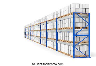 almacén, estantes, lado, vista., parte de, un, azul, almacén, y, logística, series.