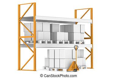 almacén, estantes, paletas, y, un, camión de mano
