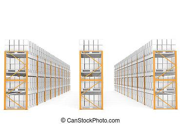 almacén, estantes
