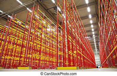 almacén, estantes, vacío