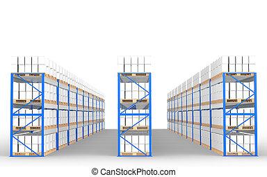 almacén, estantes, vista delantera, con