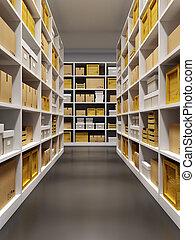 almacén, interior, con, filas, de, estantes, con, cajas
