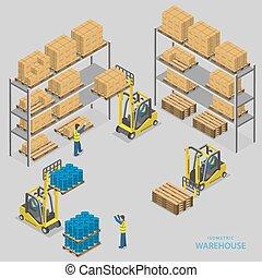 almacén, isométrico, carga, illustration., vector