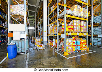 almacén, material, inflamable