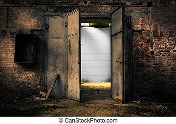 almacén, metal, oxidado, puerta, abandonado