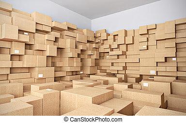 almacén, muchos, cajas, cartón