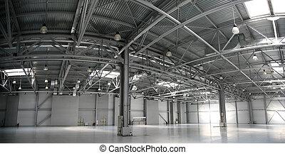 almacén, panorama, hangar