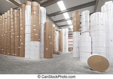 almacén, papel, rollos