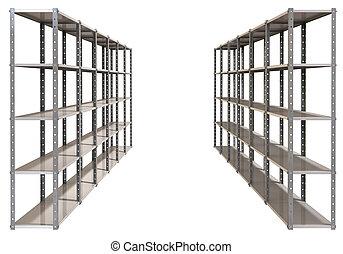 almacén, par, perspectiva, estantes