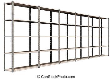 almacén, perspectiva, estantes