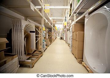 almacén, sanitario, técnicos, supermercado, estantes