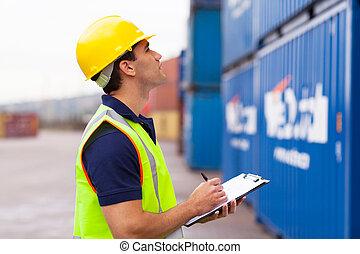 almacén, trabajador, grabación, contenedores