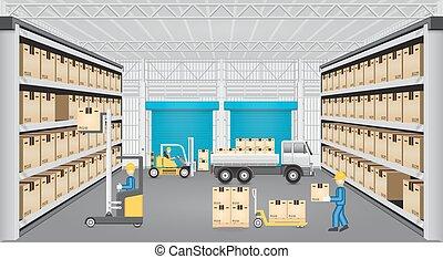almacén, vector, diseño