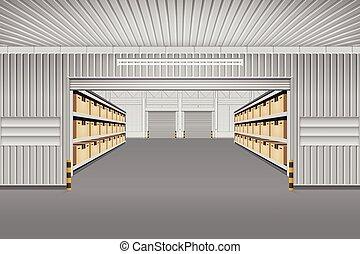 almacén, vector, plano de fondo