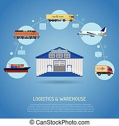 almacén, y, logística, concepto