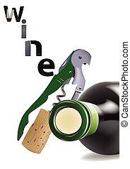 almacenado, vidrio, sótano, botellas, vino