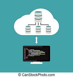 almacenamiento, base de datos, nube, relación, arquitectura, programación, dirección