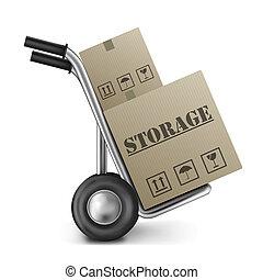 almacenamiento, caja de cartón, camión de mano