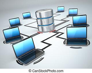 almacenamiento, concepto, establecimiento de una red, laptops., base de datos