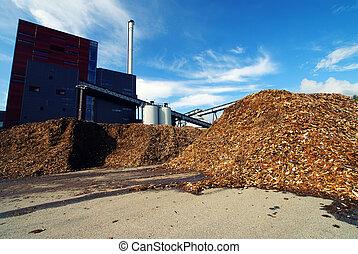 almacenamiento, contra, cielo azul, de madera, potencia, combustible, bio, planta