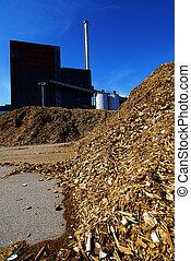 almacenamiento, de madera, potencia, combustible, bio, planta