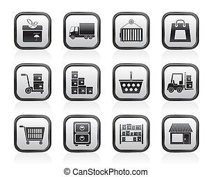 almacenamiento, iconos, transporte, iconos