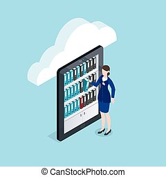 almacenamiento, isométrico, documentos, diseño, nube