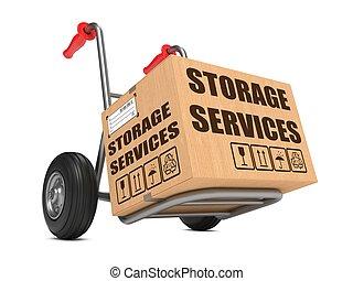 almacenamiento, servicios, -, caja de cartón, en, mano, truck.