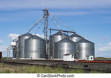 almacenamiento, silo, grano, metal, facilidad