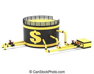 almacenamiento, tubería, tanque de petróleo