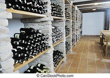 almacenamiento, vid, botellas