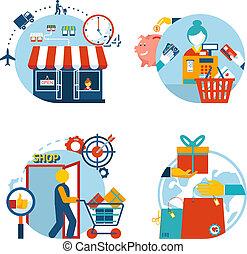 almacene compras, iconos, entrega