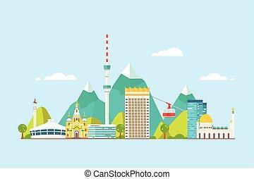 Almaty abstract skyline - Vector graphics, flat city ...