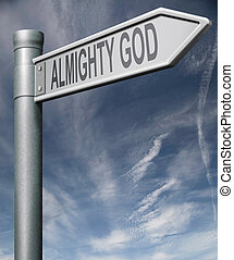 ALmighty god road sign clipping path