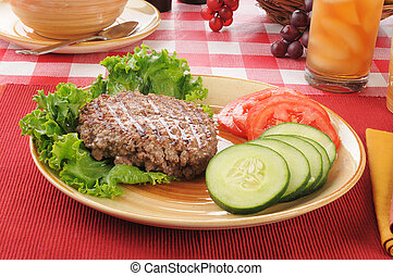 almoço, caloria, baixo, dieta